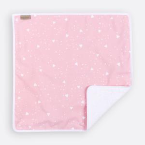 KraftKids Wickelunterlage abgerundete Dreiecke weiß auf Rosa 3 Lagen wasserundurchlässig weich Frotte 100% Baumwolle