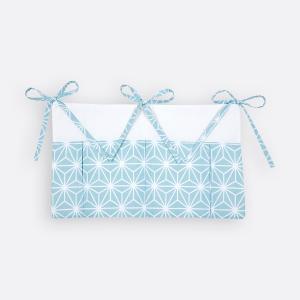 KraftKids Betttasche weiße Diamante auf Pastel Blau