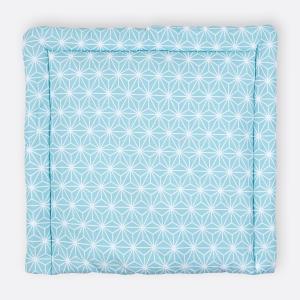 KraftKids Wickelauflage weiße Diamante auf Pastel Blau breit 78 x tief 78 cm z. B. für MALM oder HEMNES Kommodenaufsatz von KraftKids
