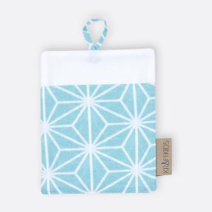 KraftKids Waschlappen weiße Diamante auf Pastel Blau