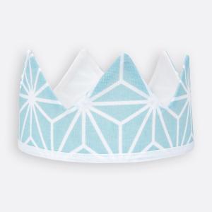 KraftKids Dekoration Stoffkrone weiße Diamante auf Pastel Blau