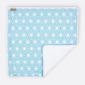 KraftKids Wickelunterlage weiße Diamante auf Pastel Blau 3 Lagen wasserundurchlässig weich Frotte 100% Baumwolle