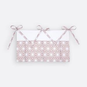 KraftKids Betttasche weiße Diamante auf Cameo Rosa