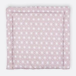 KraftKids Wickelauflage weiße Diamante auf Cameo Rosa breit 78 x tief 78 cm z. B. für MALM oder HEMNES Kommodenaufsatz von KraftKids