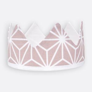 KraftKids Dekoration Stoffkrone weiße Diamante auf Cameo Rosa