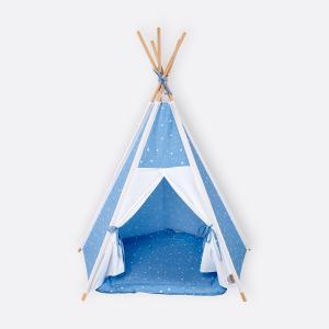 KraftKids Spielzelt Tipi Uniweiss und abgerundete Dreiecke weiß auf Blau inkl. Spielmatte und 2 Sternkissen