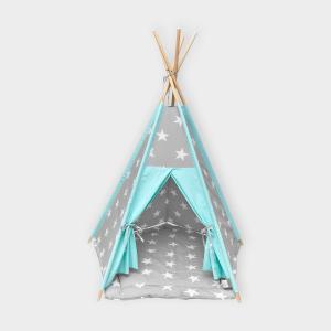 KraftKids Spielzelt Tipi große weiße Sterne auf Grau und weiße Punkte auf Mint inkl. Spielmatte und 2 Sternkissen