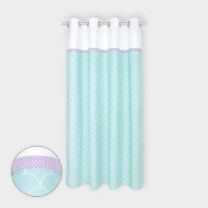 KraftKids Gardinen Uniweiss und weiße Halbkreise auf Pastelmint Länge: 230 cm