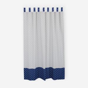 KraftKids Gardinen weiße Anker auf Dunkelblau und weiße Anker auf Grau Länge: 230 cm