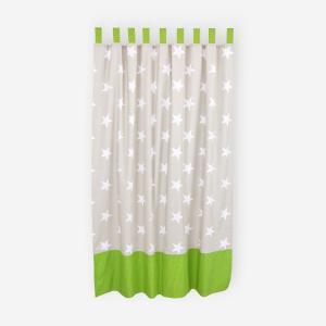 KraftKids Gardinen große weiße Sterne auf Beige und weiße Punkte auf Grün Länge: 230 cm