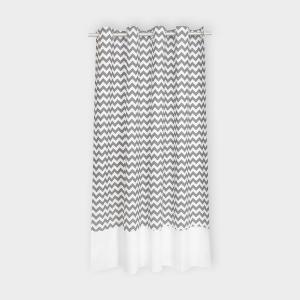 KraftKids Gardinen Uniweiss und Chevron grau Länge: 230 cm