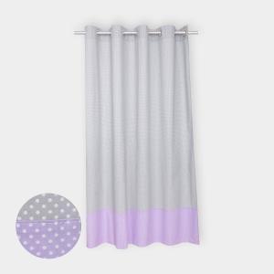 KraftKids Gardinen weiße Punkte auf Grau und weiße Punkte auf Lila Länge: 230 cm