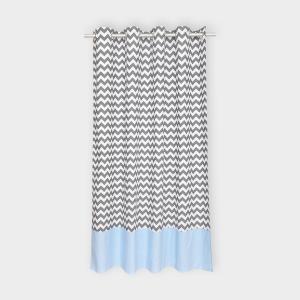 KraftKids Gardinen weiße Punkte auf Hellblau und Chevron grau Länge: 230 cm