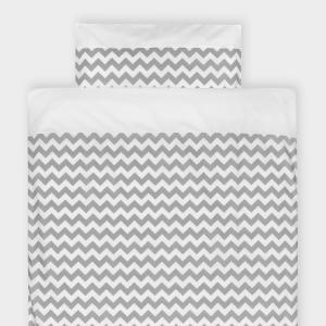 KraftKids Bettwäscheset Uniweiss und Chevron grau 100 x 135 cm, Kissen 40 x 60 cm