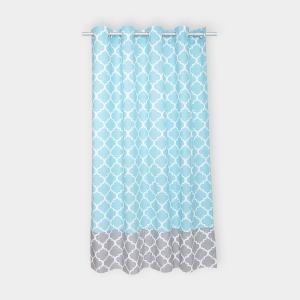 KraftKids Gardinen marokkanisches Klee grau und marokkanisches Klee türkis Länge: 230 cm