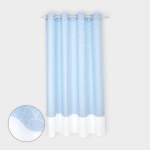 KraftKids Gardinen Uniweiss und weiße Halbkreise auf Pastelblau Länge: 230 cm