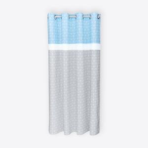 KraftKids Gardinen weiße Pfeile auf Blau und weiße Pfeile auf Grau und Uniweiss Länge: 230 cm