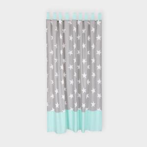 KraftKids Gardinen große weiße Sterne auf Grau und weiße Punkte auf Mint Länge: 230 cm