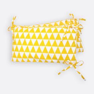 KraftKids Nestchen gelbe Dreiecke Nestchenlänge 60-70-60 cm für Bettgröße 140 x 70 cm