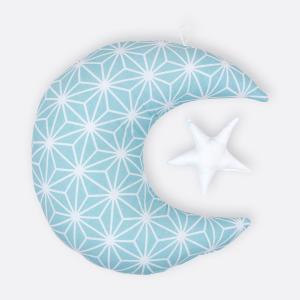 KraftKids Dekoration Mond und Stern weiße Diamante auf Pastel Blau