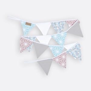 KraftKids Dekoration Wimpelkette weiße Diamante auf Cameo Rosa und Pastel Blau