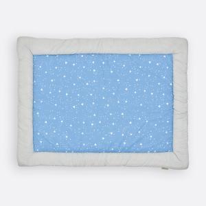 KraftKids Krabbeldecke weiße Punkte auf Grau und abgerundete Dreiecke weiß auf Blau