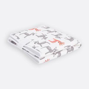 KraftKids Reisewickelunterlage kleine Rehkitze grau orange auf Weiß 3 Lagen wasserundurchlässig weich Frotte 100% Baumwolle