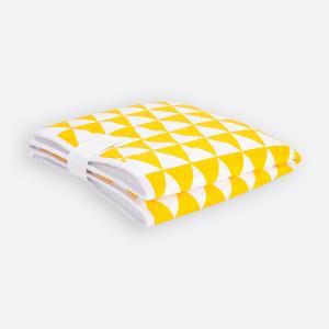 KraftKids Reisewickelunterlage gelbe Dreiecke 3 Lagen wasserundurchlässig weich Frotte 100% Baumwolle