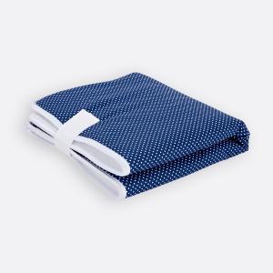 KraftKids Reisewickelunterlage weiße Punkte auf Dunkelblau 3 Lagen wasserundurchlässig weich Frotte 100% Baumwolle