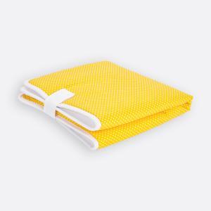 KraftKids Reisewickelunterlage weiße Punkte auf Gelb 3 Lagen wasserundurchlässig weich Frotte 100% Baumwolle