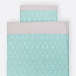 KraftKids Bettwäscheset weiße dünne Diamante auf Mint 100 x 135 cm, Kissen 40 x 60 cm
