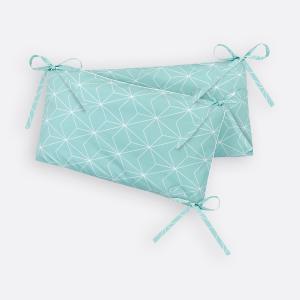 KraftKids Nestchen weiße dünne Diamante auf Mint Nestchenlänge 60-60-60 cm für Bettgröße 120 x 60 cm