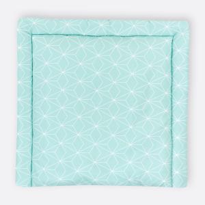 KraftKids Wickelauflage weiße dünne Diamante auf Mint breit 78 x tief 78 cm z. B. für MALM oder HEMNES Kommodenaufsatz von KraftKids