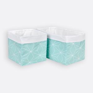 KraftKids Körbchen weiße dünne Diamante auf Mint 20 x 33 x 20 cm