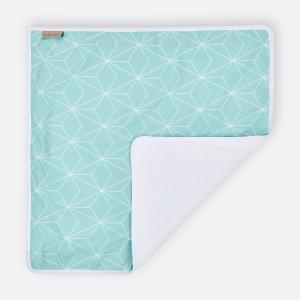 KraftKids Wickelunterlage weiße dünne Diamante auf Mint 3 Lagen wasserundurchlässig weich Frotte 100% Baumwolle