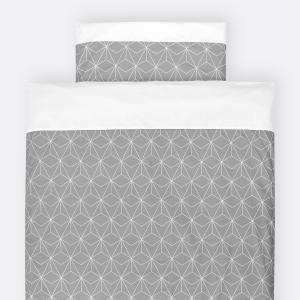 KraftKids Bettwäscheset weiße dünne Diamante auf Grau 100 x 135 cm, Kissen 40 x 60 cm