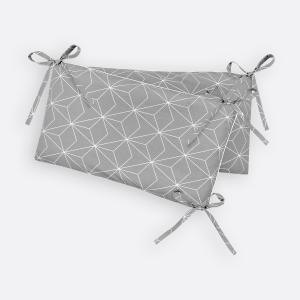 KraftKids Nestchen weiße dünne Diamante auf Grau Nestchenlänge 60-70-60 cm für Bettgröße 140 x 70 cm