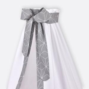 KraftKids Betthimmel weiße dünne Diamante auf Grau