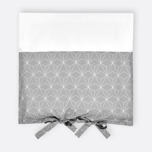 KraftKids Bezug für Wickeltischauflage weiße dünne Diamante auf Grau