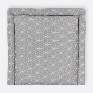 KraftKids Wickelauflage weiße dünne Diamante auf Grau breit 75 x tief 70 cm