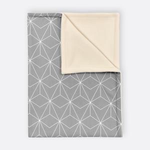 KraftKids Babydecke weiße dünne Diamante auf Grau
