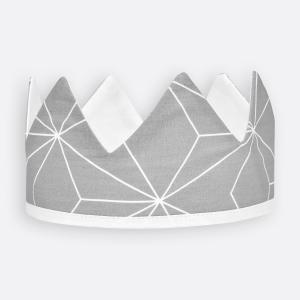 KraftKids Dekoration Stoffkrone weiße dünne Diamante auf Grau