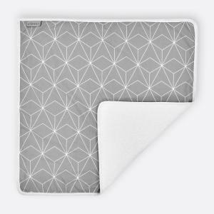 KraftKids Wickelunterlage weiße dünne Diamante auf Grau 3 Lagen wasserundurchlässig weich Frotte 100% Baumwolle