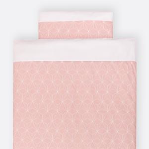 KraftKids Bettwäscheset weiße dünne Diamante auf Altrosa 140 x 200 cm, Kissen 80 x 80 cm