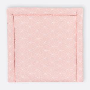 KraftKids Wickelauflage weiße dünne Diamante auf Altrosa breit 75 x tief 70 cm