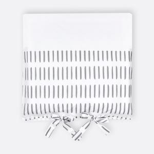 KraftKids Bezug für Wickeltischauflage graue Striche auf Weiß