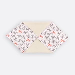 KraftKids Einschlagdecke für Babyschale Winter kleine Rehkitze grau orange auf Weiß