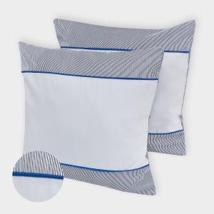 KraftKids Kissenbezug Unigrau und dünne Streifen dunkelblau