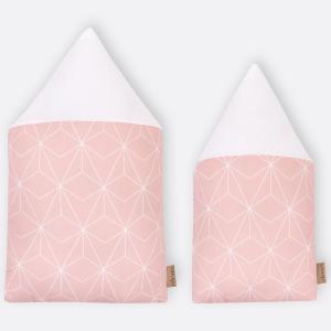 KraftKids Dekoration Stoffhäuschen weiße dünne Diamante auf Altrosa Inhalt: ein kleines und großes Häuschen
