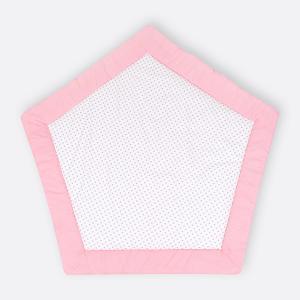 KraftKids Spielmatte weiße Punkte auf Koralrosa und graue Punkte auf Weiss